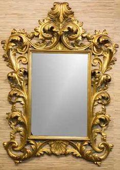 Continental Rococo-Manner Gilt Wood Mirror
