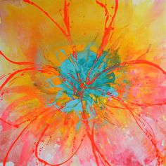 XL flower ART Original Art by UK artist Caroline Ashwood - Textured and contemporary abstract painting on canvas - Free Shipping on Etsy, $800.00