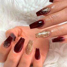 Burgundy Nails With Gold Glitter Burgundy nail art with glitter with rhinestones and with gold for both short and long nails. : Burgundy Nails With Gold Glitter Burgundy nail art with glitter with rhinestones and with gold for both short and long nails. Burgundy Nail Designs, Burgundy Nail Art, Red And Gold Nails, Light Pink Nails, Maroon Nails Burgundy, Gold Nail Designs, Burgundy Color, Gold Acrylic Nails, Gold Glitter Nails