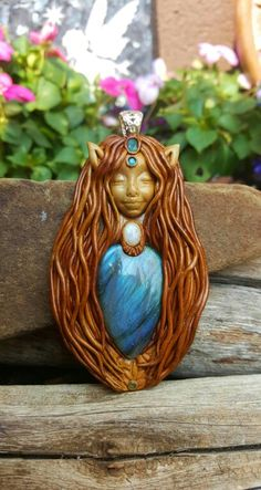 Labradorite pixie crystal clay pendant handcrafted by Wakee's Wares on facebook ☺✌