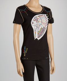 Black Tribal Cap-Sleeve Tee - Women by Sassy Sista's #zulilyfinds #zulily #zulilyfind #black #top #shirt #teeshirt #tshirt #ladies #womens #embroidery #embroidered #indian #chief #retro #vintage #hand #stitched #stitch #stitching #colorful #southwestern #south #western #hipster #country #wild #west #vintage #america #american #usa #patch #summer #top