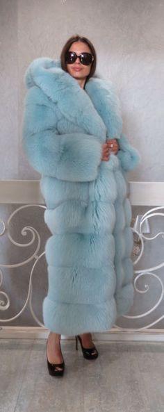 """NEW Designer Blue Fox Fur Full length Coat Hood Horizontal S M 59"""" 66"""" 2 in 1"""