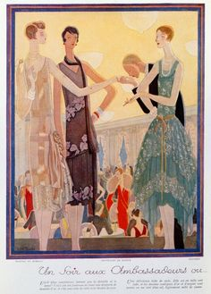 'Un Soir aux Ambassadeurs ou le Triomphe de la Dentelle', fashion designs for evening dresses from the magazine 'Femina', Christmas 1927 (colour litho)  The figure on the right wears the robe de style (or romantic style), while the other two wear the garconne look (or modernist style).