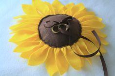 Sunflower Wedding Ring Pillow