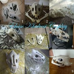 Hello people of the Underground! This is how i made my beloved Gaster Blaster ! Firstly I printed the pattern (the model I used is here ) and transferred it on . Sans Undertale Cosplay, Undertale Comic Funny, Undertale Fanart, Undertale Au, Sans Cosplay, Cosplay Diy, Halloween Cosplay, Diy Costumes, Cosplay Costumes