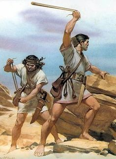 Belearic slingers in action. They were employed by Carthage during the Second Punic War and were quite deadly with their assorted ammunition which consisted of lead and stone projectiles. One of them hit and wounded the Consul Lucius Aemilius Paullus early in the battle of Cannae.