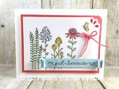 Fields Sneak Peak Flowering Fields, Sale-a-Bration Stampin' Up!, BJ PetersFlowering Fields, Sale-a-Bration Stampin' Up! Tarjetas Stampin Up, Scrapbooking, Stamping Up Cards, Cool Cards, Flower Cards, Homemade Cards, Making Ideas, Cardmaking, Birthday Cards