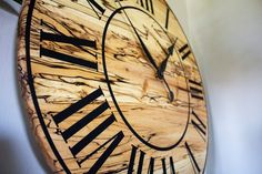 Kiln Dried Wood, Wood Kiln, Handmade Wall Clocks, Spalted Maple, Roman Numerals, Wooden Walls, Types Of Wood, French Kitchen, Coloring