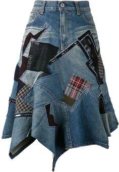 Comme des Garcons Junya Watanabe patch denim skirt on shopstyle.com