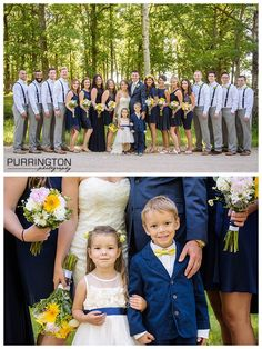 bridal party midnight blue and yellow bridesmaids and groomsmen and flower girl and ring bearer pose poses idea ideas © 2016 Purrington Photography Bemidji Northern MN wedding and portrait photographer www.PurringtonPhotography.com