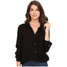 Three Dots Ariana - Button Down Shirt (Black) ($111) ❤ liked on Polyvore featuring tops, folding long sleeve shirts, long sleeve collared shirts, button up shirts, long-sleeve shirt and rayon tops