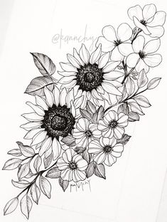 sunflower tattoos, flower thigh tattoos, back thigh tattoo, floral hip tattoo Tattoo Girls, Girl Tattoos, Tatoos, Tattoo Drawings, Body Art Tattoos, New Tattoos, Sleeve Tattoos, Tattoo Sleeves, Dragon Tattoos