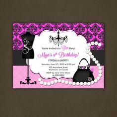 Fashionista invites   Glamour Fashionista Birthday Party Invitation by PinkSkyPrintables
