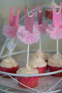 pink ballet ballerina tulle tutu first birthday party tutu cupcake toppers