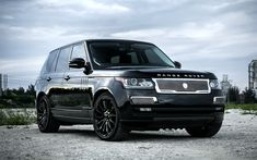 Download wallpapers Land Rover, Range Rover Vogue, 2017, Supercharged, tuning, black luxury SUV, black wheels
