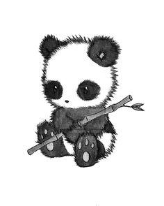 Fuzzy, cuddly panda drawing. Adorable hand drawn #panda | graphics, animal drawings.