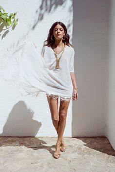Boho Tassle Fringe Kaftan in Pure White by DancingLeopard