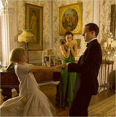 """NY Times said: Joe Wright's """"Atonement"""" begins in the endlessly photogenic, thematically pregnant interwar period. The setting is a rambling old British country estate where trim dinner jackets and shimmering silk dresses are worn; cigarettes are smoked with sharp inhalations that create perfect concavities of cheekbone; and the air is thick with class tension and sexual anxiety."""