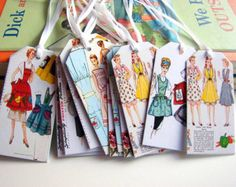 Sewing Room Gift Tags - Vintage Apron Sewing Patterns Retro Housewife Kitchen Seamstress Sew - Set Of 12 Small Assorted Tags
