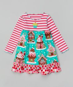This Pink & Teal Gingerbread House Dress - Toddler & Girls is perfect! #zulilyfinds Christmas  is Coming Girls Apparel