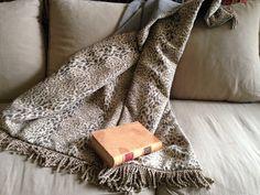 Jungle Throw Blanket  Cheetah Animal Print Gray by AlexsAttic