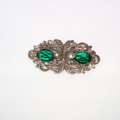 #Vintage Green Faceted Rhinestone #Brooch #Marcasite Pin Paul #Sargent 24KP by WhimzyThyme on Etsy