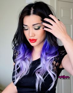 Black hair with lilac fade. Not for me but it's cute for her!!