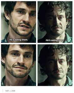 """In 1x01 Will smiled after saying that - he finds it grotesquely humorous because it seems absolutely ridiculous. Even though he knows it's happening, it's not personally attached him. In 2x04 Will looks pained because this revelation, """"Hannibal the Cannibal"""", hurts him, affects him personally. He cared about Hannibal. He believed in Hannibal. He trusted Hannibal. Now that's all been torn away from him and he still wants to be in denial."""