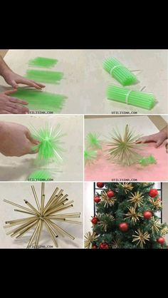 DIY Christmas decorations using straws