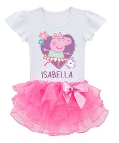 Love this White & Pink Peppa Pig Ballerina Personalized Tee - Toddler by Peppa Pig on #zulily! #zulilyfinds