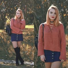 Get this look: http://lb.nu/look/8497609  More looks by Carina Gonçalves: http://lb.nu/carinag  Items in this look:  Rosewholesale Sweater, Choies Skirt, La Moda Boots   #bohemian #preppy #romantic #fashion #fashionblogger #girl #porto #portugal #autumn