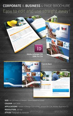 Corporate & Business 4 Page Brochure - Corporate Brochure Template InDesign INDD. Download here: http://graphicriver.net/item/corporate-business-4-page-brochure/241569?s_rank=751&ref=yinkira