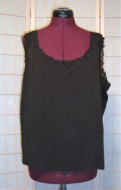 Pretty Sigrid Olsen Sz 2X Black 100% Silk W/ Lace Trim Stretch Tank Top  #SigridOlsen #TankCami