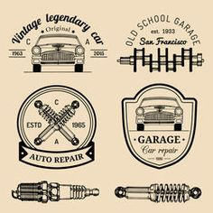 Similar Images, Stock Photos & Vectors of Vector set of vintage sketched garage logos. Retro car repair, auto service icons, signs collection for advertising posters, cards etc. Garage Repair, Car Repair, Garage Logo, Car Logo Design, Car Logos, Auto Service, Repair Shop, Retro Cars, Get The Job