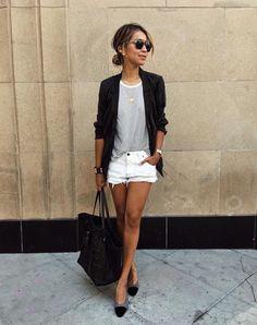 White Shorts, Chanel Slingbacks.