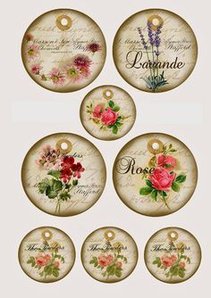 Retro Labels with Flowers.