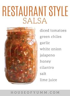 The Ultimate Salsa! Easy recipe to make and full canning instructions. Made with fresh tomatoes, this chunky spicy Salsa is a hit. Use water bath canning to preserve this homemade recipe! Better than restaurant salsa! Salsa Canning Recipes, Mexican Salsa Recipes, Canning Salsa, Mexican Dishes, Mexican Meals, Mexican Food Places, Mexican Food Restaurants, Chicago Restaurants, Bbq Pitmasters