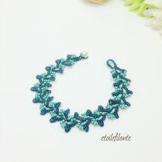 Flower Garden / Bracelet 17cm / blue & Turquoise blue-BS02- | Bracelet · Bangle | etoilefilante | Handmade mail order · sale Creema