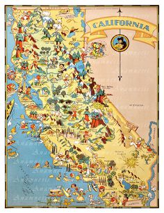 CALIFORNIA MAP - High Res Digital Image - 1935 California picture map - frame it - totes, pillows, prints - fun vintage map art - home decor by Anamnesis on Etsy https://www.etsy.com/listing/154990340/california-map-high-res-digital-image