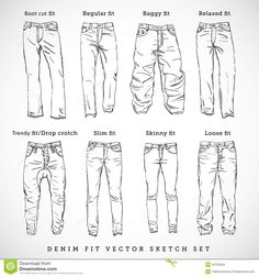 How to draw the other type of jeans - drawing clothes - - - <-> Drawing Techniques, Drawing Tips, Drawing Sketches, Illustration Sketches, Sketching, Jeans Drawing, Drawing Clothes, Manga Clothes, Drawing Reference Poses
