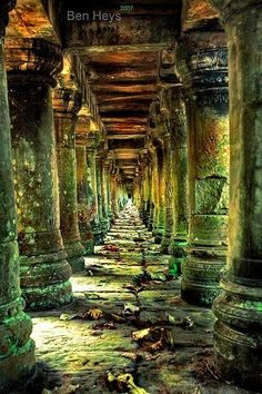 Long stone corridor in temple ruins around Siem Reap, Cambodia. Travel photography around SE Asia photography travel Cambodia. Old Buildings, Abandoned Buildings, Abandoned Places, Temple Ruins, Hindu Temple, Ancient Ruins, Abandoned Mansions, Ancient Architecture, Classical Architecture