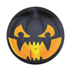 Scary Pumpkin Jack O Lantern Paper Plate - home gifts ideas decor special unique custom individual customized individualized