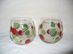 Christamas ornaments hand painted stemless wine glasses by crazylu, $24.00
