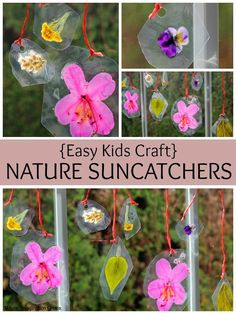 Easy DIY Nature Suncatchers for Kids! Simple preschool craft with flowers from your backyard.