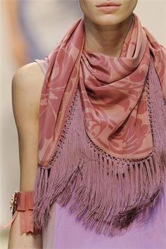 Scarf on a fashion show runway