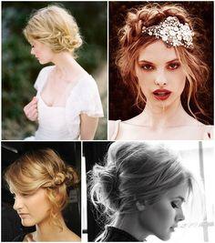 Unusual bridal hair on French Wedding Style Blog