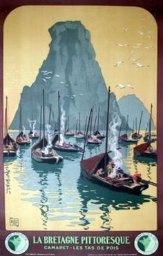 Vintage Travel Poster - La Bretagne Pittoresque - by Charles Allo Travel Ads, Travel Images, Travel And Tourism, Fishing Places, Pub Vintage, Retro Poster, Poster Vintage, Brittany France, Ville France