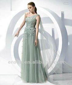 tulle beaded mint dress long Neue eh-037 serie eine- schulter tüll abendkleid abendkleid großhandel