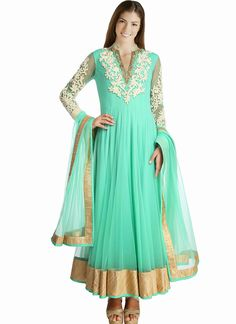 Turquoise Green Net Ankle Length Anarkali Suit