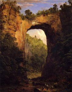 A ponte natural, Virgínia. 1852. Óleo sobre tela. Frederic Edwin Church (Hartford, Connecticut, USA, 04/05/1826 — Nova Iorque, NY, USA, 07/04/1900).
